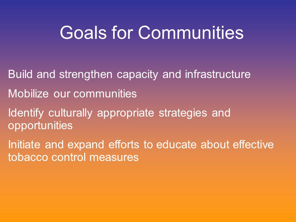 Build and strengthen capacity and infrastructure Mobilize our communities Identify culturally appropriate strategies and opportunities Initiate and ex