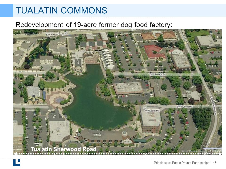 Principles of Public-Private Partnerships 46 Redevelopment of 19-acre former dog food factory: Tualatin Sherwood Road TUALATIN COMMONS