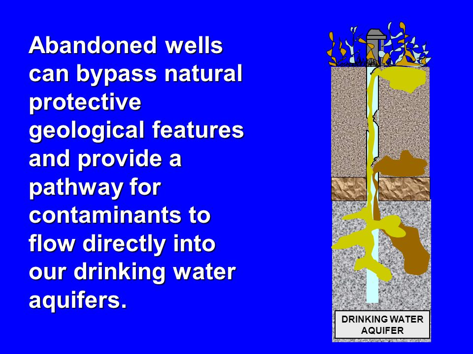 DRINKING WATER AQUIFER Abandoned wells can bypass natural protective geological features and provide a pathway for contaminants to flow directly into our drinking water aquifers.
