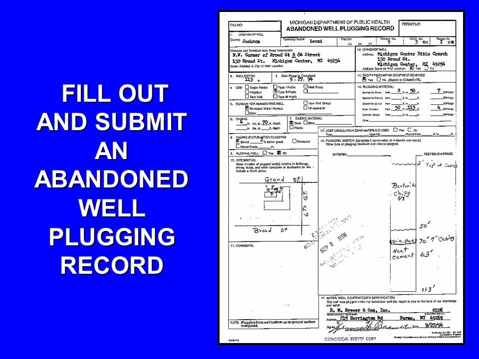FILL OUT AND SUBMIT AN ABANDONED WELL PLUGGING RECORD FILL OUT AND SUBMIT AN ABANDONED WELL PLUGGING RECORD