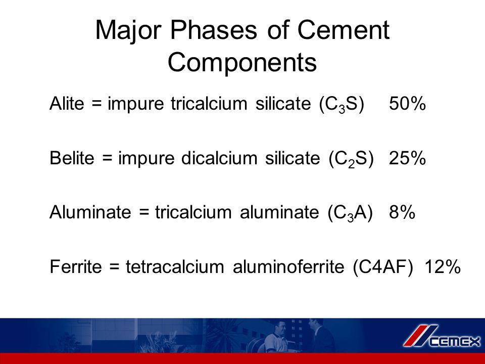 Major Phases of Cement Components Alite = impure tricalcium silicate (C 3 S)50% Belite = impure dicalcium silicate (C 2 S)25% Aluminate = tricalcium a