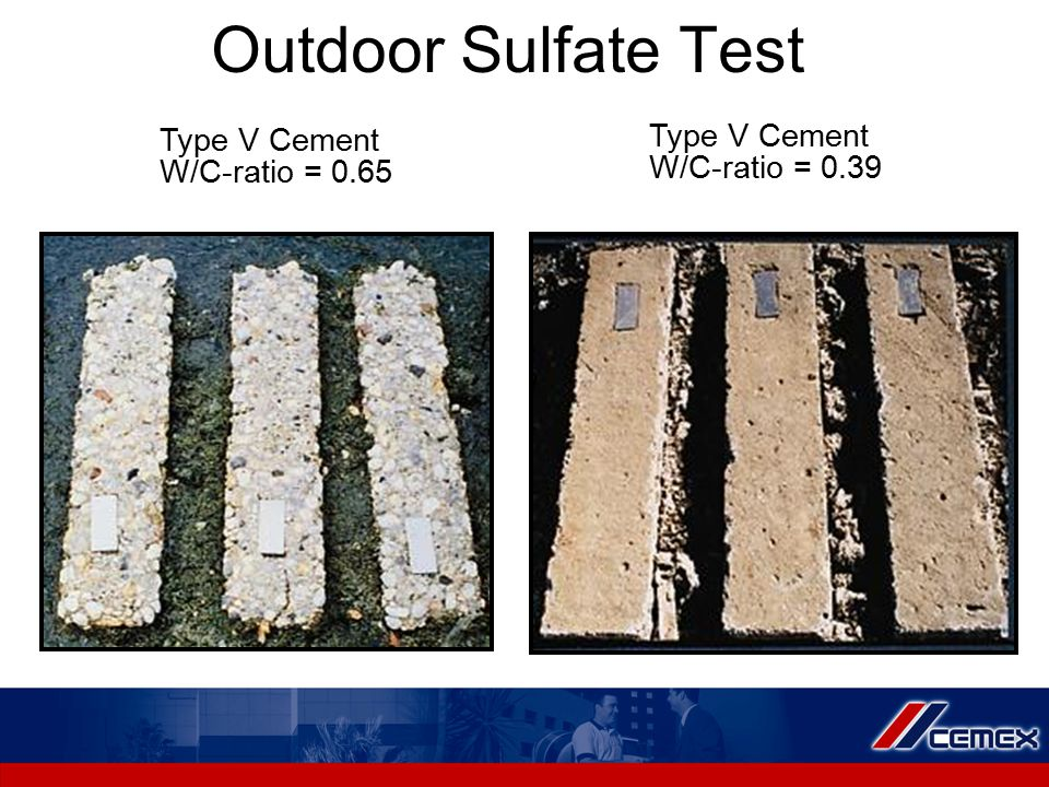 Outdoor Sulfate Test Type V Cement W/C-ratio = 0.65 Type V Cement W/C-ratio = 0.39