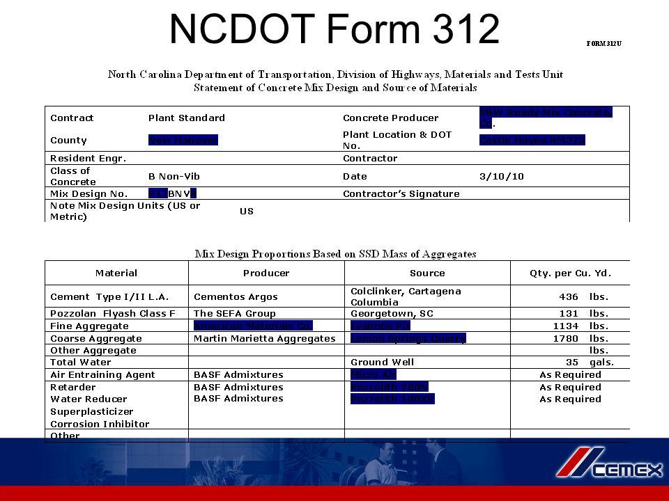 NCDOT Form 312