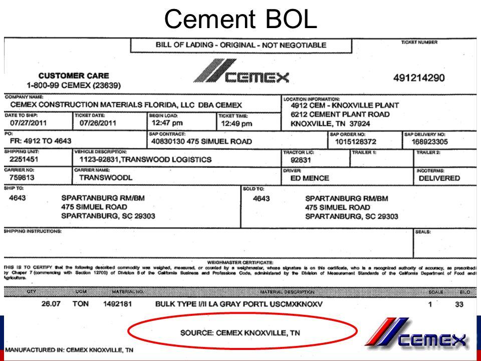 Cement BOL