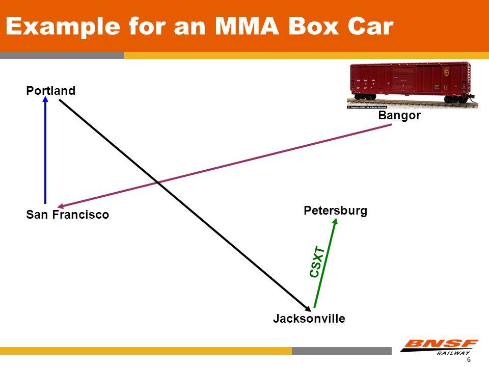 6 Example for an MMA Box Car Petersburg Portland San Francisco Jacksonville Bangor CSXT