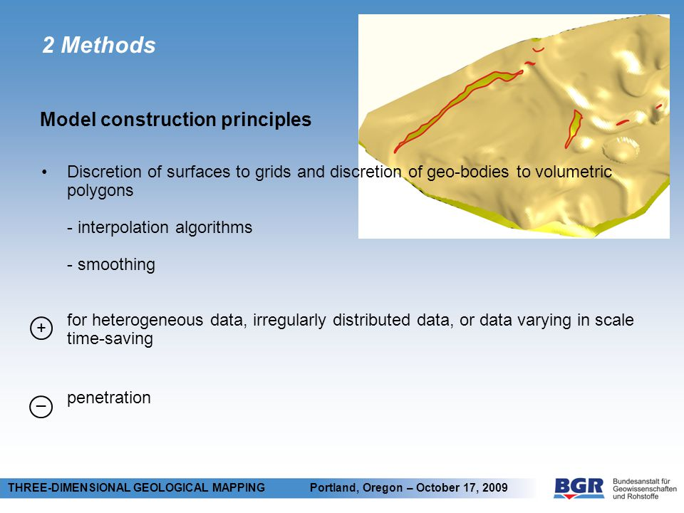 2 Methods Model construction principles THREE-DIMENSIONAL GEOLOGICAL MAPPING Portland, Oregon – October 17, 2009 Discretion of surfaces to grids and discretion of geo-bodies to volumetric polygons - interpolation algorithms - smoothing for heterogeneous data, irregularly distributed data, or data varying in scale time-saving penetration + _