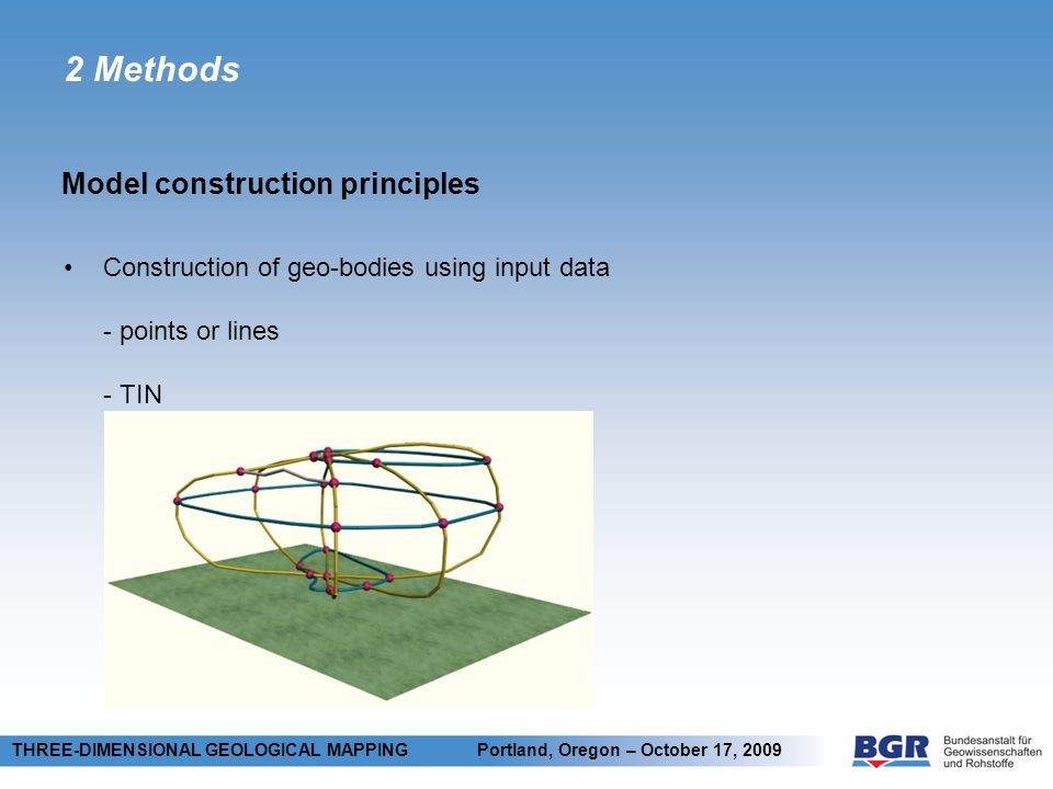 2 Methods Model construction principles THREE-DIMENSIONAL GEOLOGICAL MAPPING Portland, Oregon – October 17, 2009 Construction of geo-bodies using input data - points or lines - TIN