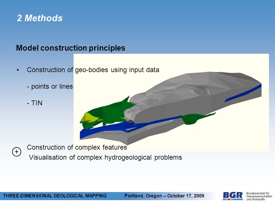 2 Methods THREE-DIMENSIONAL GEOLOGICAL MAPPING Portland, Oregon – October 17, 2009 + Construction of geo-bodies using input data - points or lines - TIN Construction of complex features Visualisation of complex hydrogeological problems Model construction principles