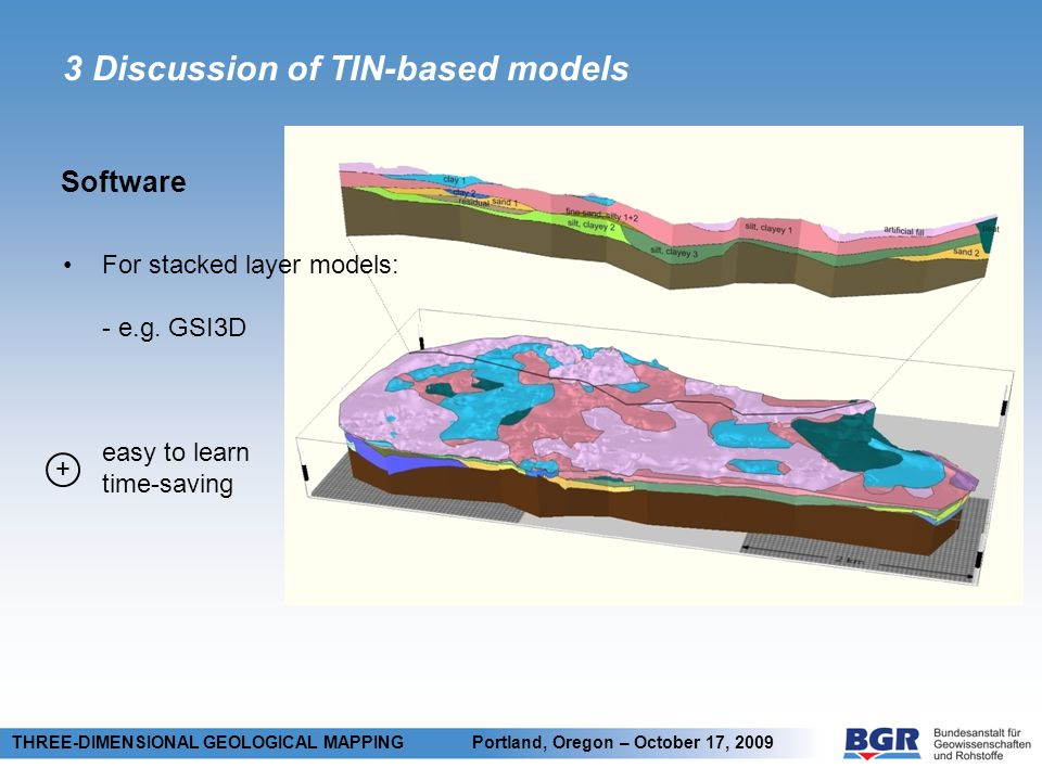 3 Discussion of TIN-based models Software THREE-DIMENSIONAL GEOLOGICAL MAPPING Portland, Oregon – October 17, 2009 + For stacked layer models: - e.g.