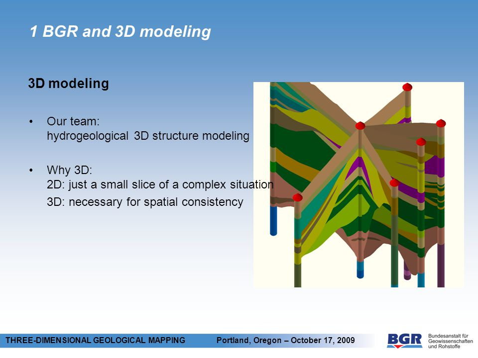 2 Methods Model construction principles THREE-DIMENSIONAL GEOLOGICAL MAPPING Portland, Oregon – October 17, 2009 + Construction of geo-bodies using input data - points or lines - TIN Construction of complex features