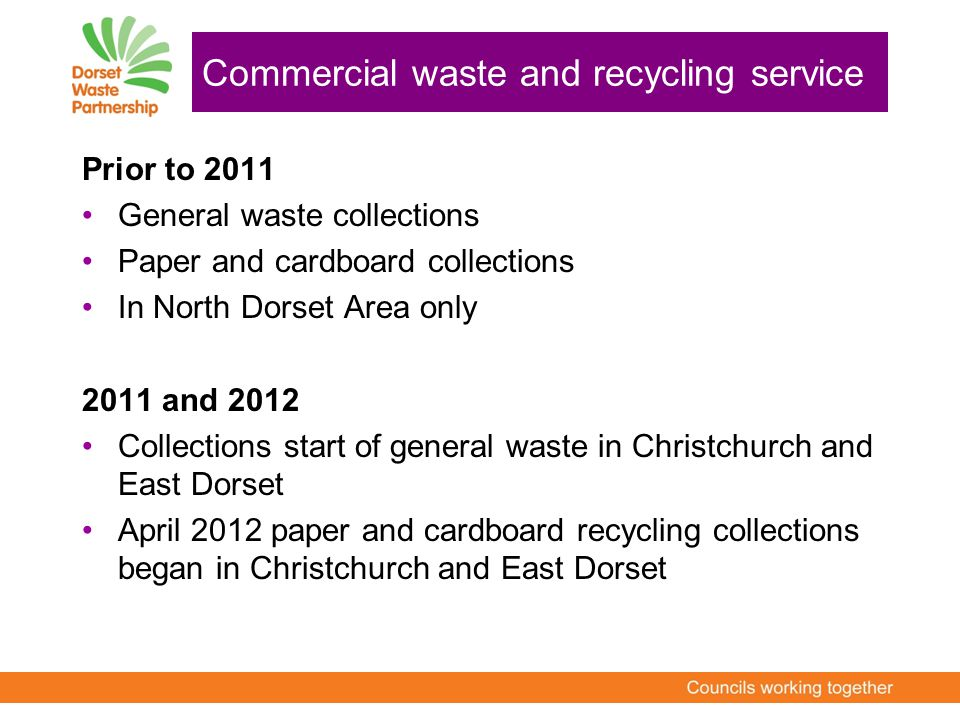 Prior to 2011 General waste collections Paper and cardboard collections In North Dorset Area only 2011 and 2012 Collections start of general waste in Christchurch and East Dorset April 2012 paper and cardboard recycling collections began in Christchurch and East Dorset Commercial waste and recycling service