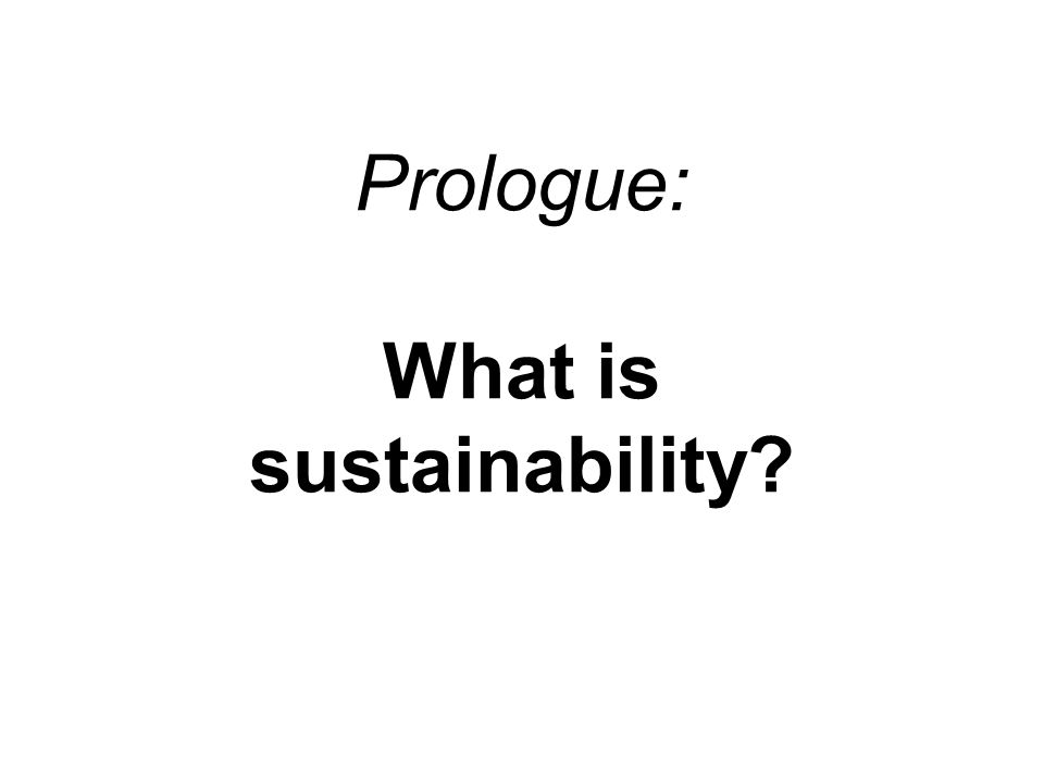 Prologue: What is sustainability?