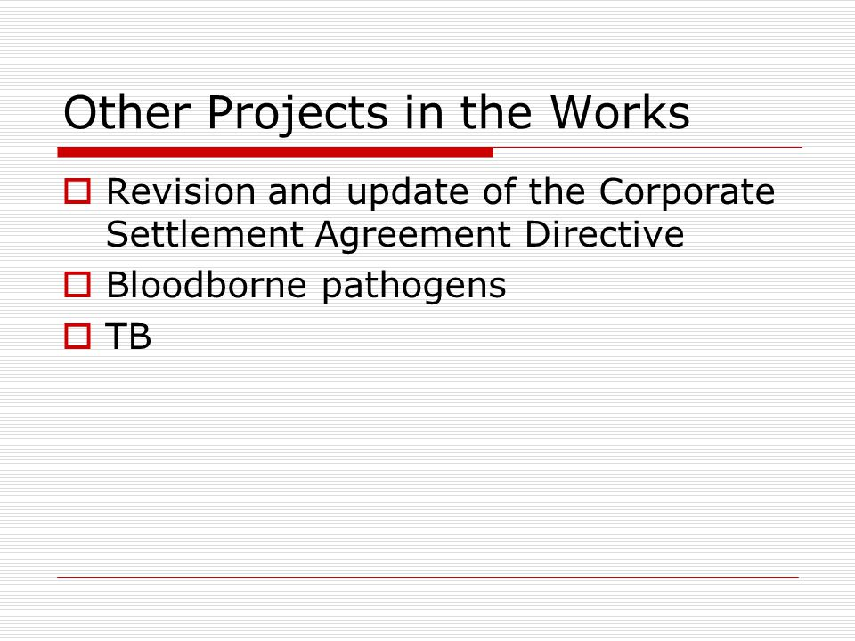 Other Projects in the Works  Revision and update of the Corporate Settlement Agreement Directive  Bloodborne pathogens  TB