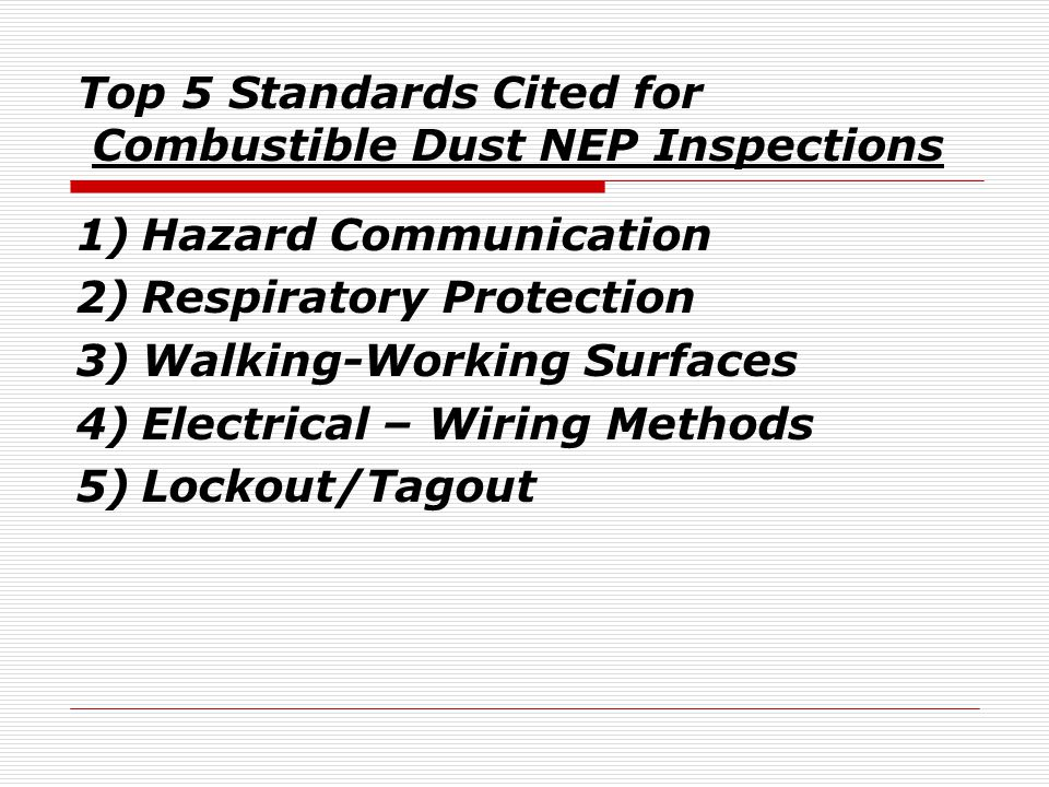 Top 5 Standards Cited for Combustible Dust NEP Inspections 1)Hazard Communication 2)Respiratory Protection 3)Walking-Working Surfaces 4)Electrical – Wiring Methods 5)Lockout/Tagout