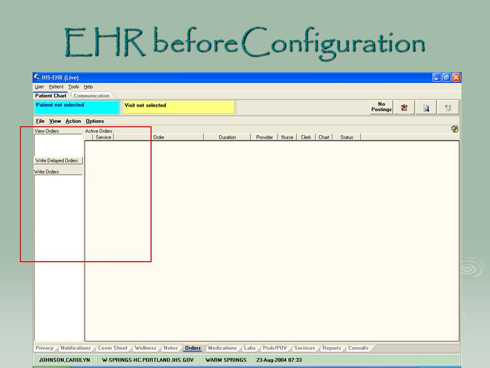 EHR beforeConfiguration EHR before Configuration