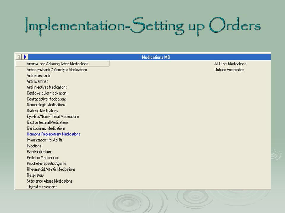 Implementation-Setting up Orders