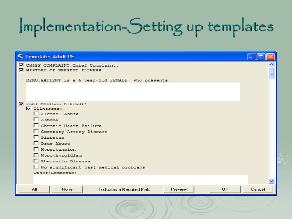Implementation-Setting up templates