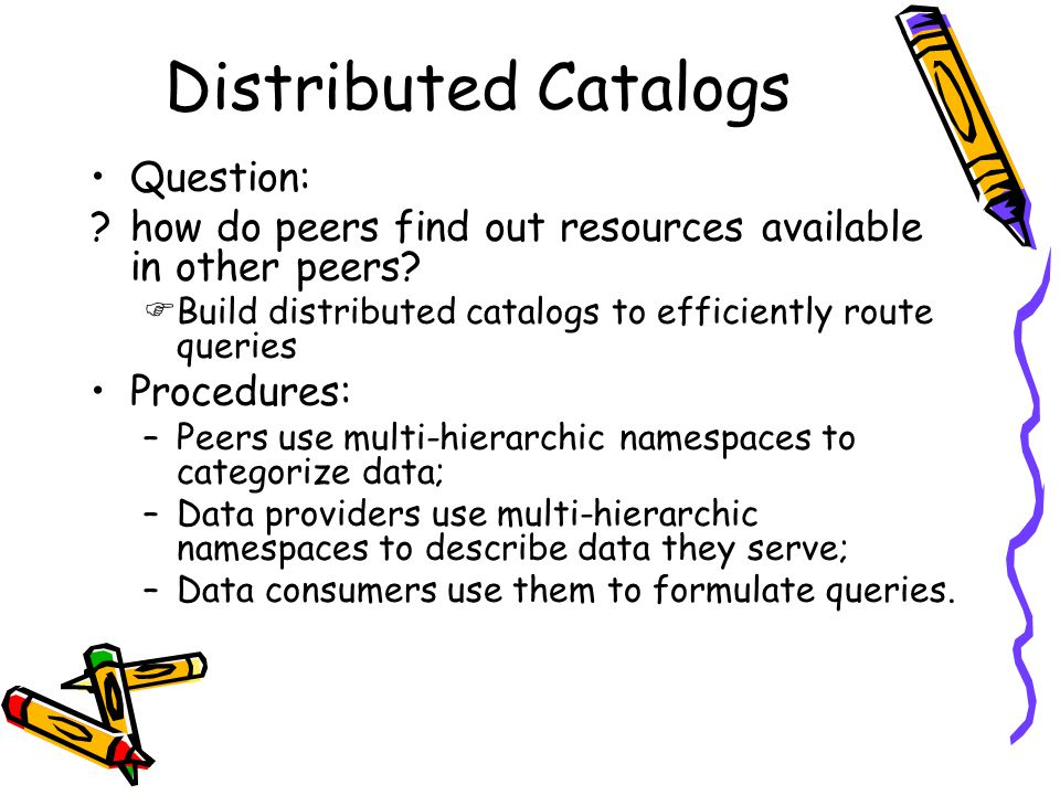 Distributed Catalogs Question: ?how do peers find out resources available in other peers.