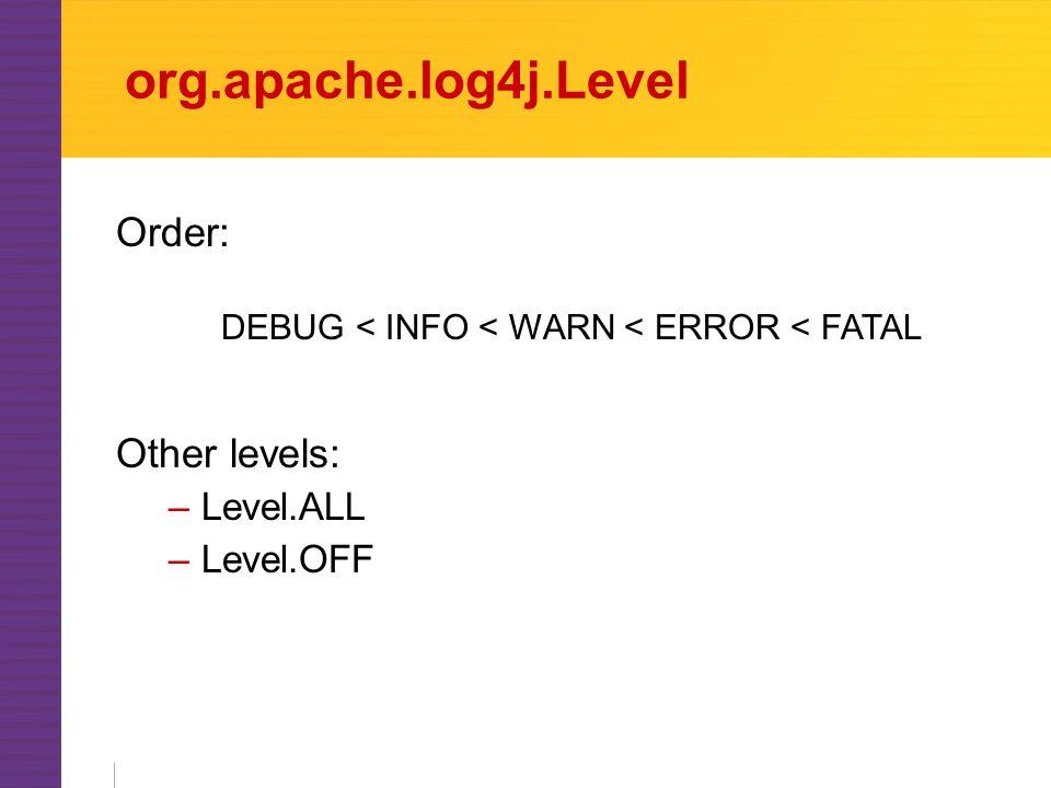 org.apache.log4j.Level Other levels: –Level.ALL –Level.OFF Order: DEBUG < INFO < WARN < ERROR < FATAL