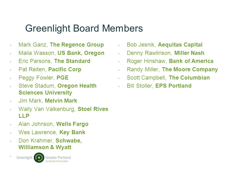 Greenlight Board Members Mark Ganz, The Regence Group Malia Wasson, US Bank, Oregon Eric Parsons, The Standard Pat Reiten, Pacific Corp Peggy Fowler, PGE Steve Stadum, Oregon Health Sciences University Jim Mark, Melvin Mark Wally Van Valkenburg, Stoel Rives LLP Alan Johnson, Wells Fargo Wes Lawrence, Key Bank Don Krahmer, Schwabe, Williamson & Wyatt Bob Jesnik, Aequitas Capital Denny Rawlinson, Miller Nash Roger Hinshaw, Bank of America Randy Miller, The Moore Company Scott Campbell, The Columbian Bill Stoller, EPS Portland