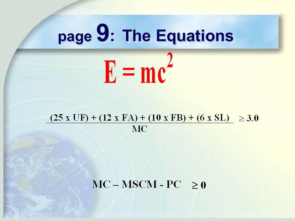 page 9 : The Equations
