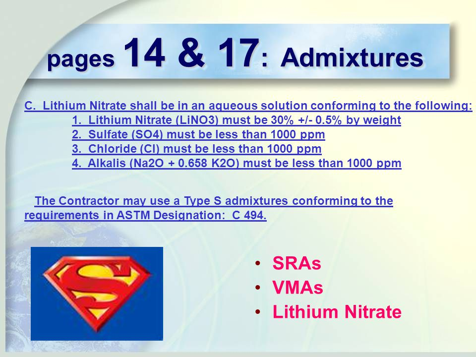 pages 14 & 17 : Admixtures C.