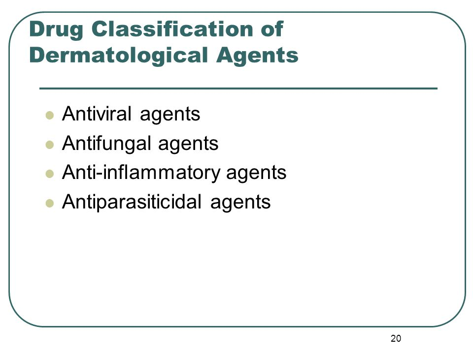 20 Drug Classification of Dermatological Agents Antiviral agents Antifungal agents Anti-inflammatory agents Antiparasiticidal agents