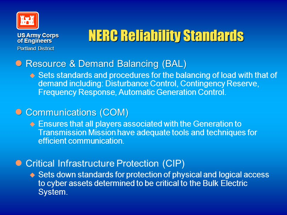 US Army Corps of Engineers Portland District NERC Reliability Standards Resource & Demand Balancing (BAL) Resource & Demand Balancing (BAL)   Sets s