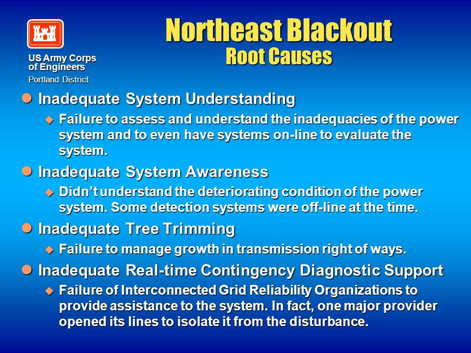 US Army Corps of Engineers Portland District Northeast Blackout Root Causes Inadequate System Understanding Inadequate System Understanding  Failure