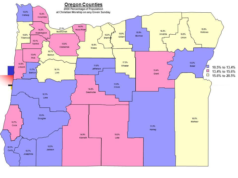 10.5% Morrow 10.7% Josephine 11.3% Harney 11.5% Crook 11.6% Jefferson 11.7% Benton 12.1% Lane 12.1% Curry 12.3% Jackson 13.0% Clatsop 13.0% Douglas 13.3% Baker 13.4% Polk 13.4% Columbia 13.4% Grant 13.5% Lincoln 13.6% Clackamas 13.7% Coos 14.2% Washington 14.2% Deschutes 14.9% Hood River 14.9% Klamath 15.0% Lake 15.1% Yamhill 15.6% Tillamook 15.9% Gilliam 16.0% Sherman 16.0% Malheur 16.1% Linn 16.2% Umatilla 16.5% Wasco 16.5% Union 17.3% Multnomah 17.3% Wheeler 18.7% Marion 19.5% Wallowa 10.5% to 13.4% 13.4% to 15.6% 15.6% to 20.5% Oregon Counties 2000 Percentage of Population at Christian Worship on any Given Sunday.