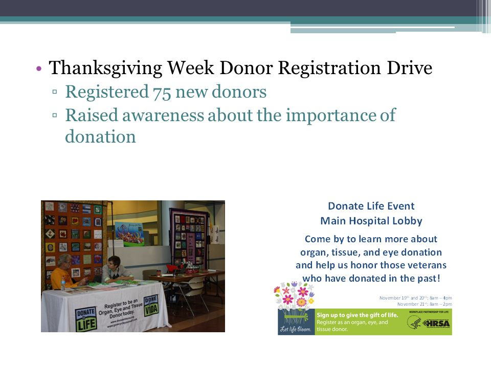 Thanksgiving Week Donor Registration Drive ▫Registered 75 new donors ▫Raised awareness about the importance of donation