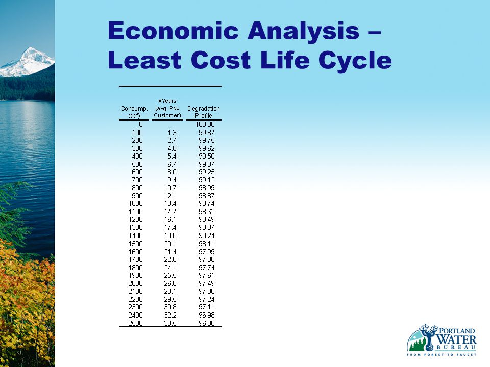 Economic Analysis – Least Cost Life Cycle