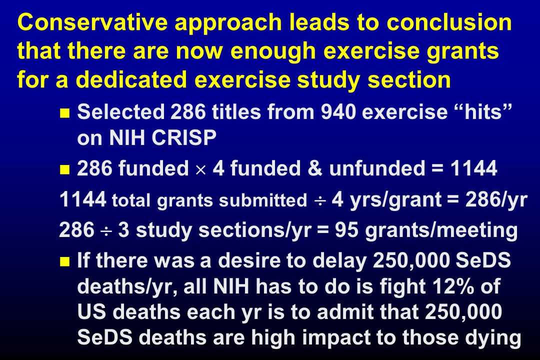 Conservative approach leads to conclusion that there are now enough exercise grants for a dedicated exercise study section Selected 286 titles from 940 exercise hits on NIH CRISP 286 funded  4 funded & unfunded = 1144 1144 total grants submitted  4 yrs/grant = 286/yr 286  3 study sections/yr = 95 grants/meeting If there was a desire to delay 250,000 SeDS deaths/yr, all NIH has to do is fight 12% of US deaths each yr is to admit that 250,000 SeDS deaths are high impact to those dying