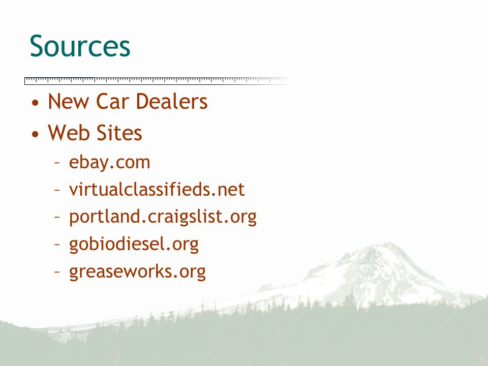 Sources New Car Dealers Web Sites –ebay.com –virtualclassifieds.net –portland.craigslist.org –gobiodiesel.org –greaseworks.org