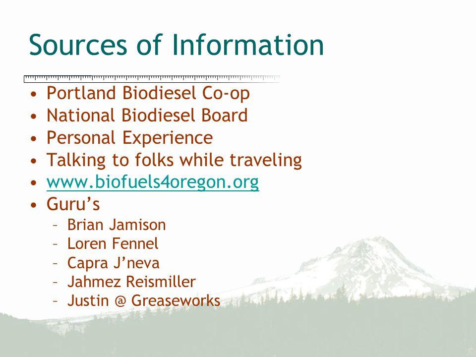 Sources of Information Portland Biodiesel Co-op National Biodiesel Board Personal Experience Talking to folks while traveling www.biofuels4oregon.org Guru's –Brian Jamison –Loren Fennel –Capra J'neva –Jahmez Reismiller –Justin @ Greaseworks