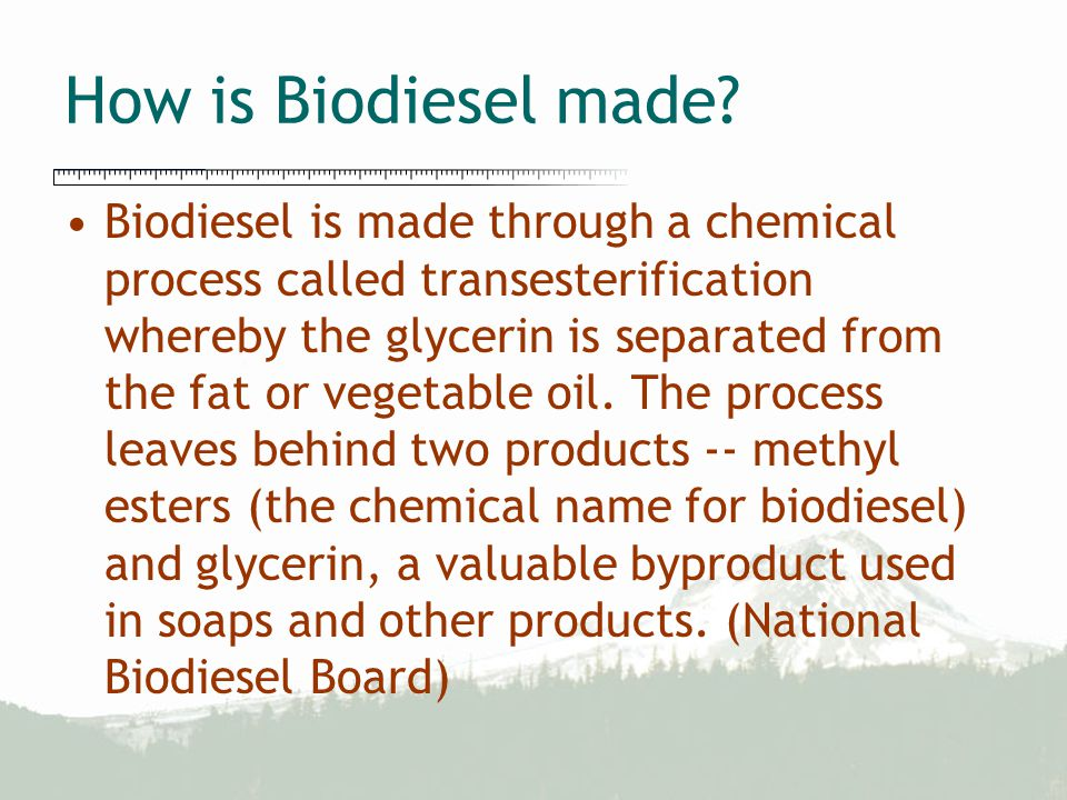 How is Biodiesel made? Biodiesel is made through a chemical process called transesterification whereby the glycerin is separated from the fat or veget