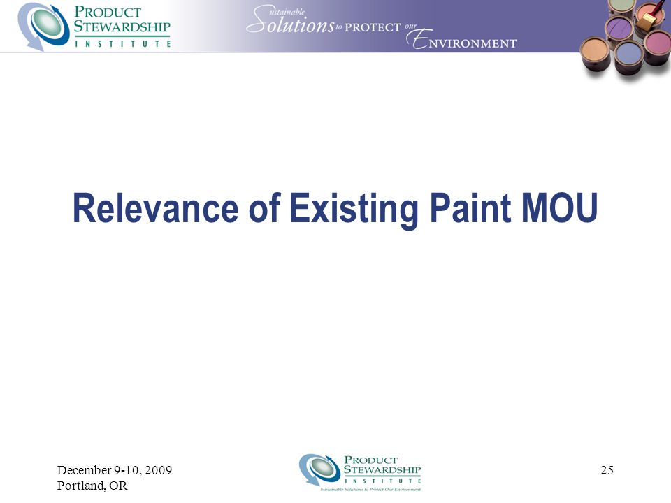 December 9-10, 2009 Portland, OR 24 Assessment  What is the role of the MOU.