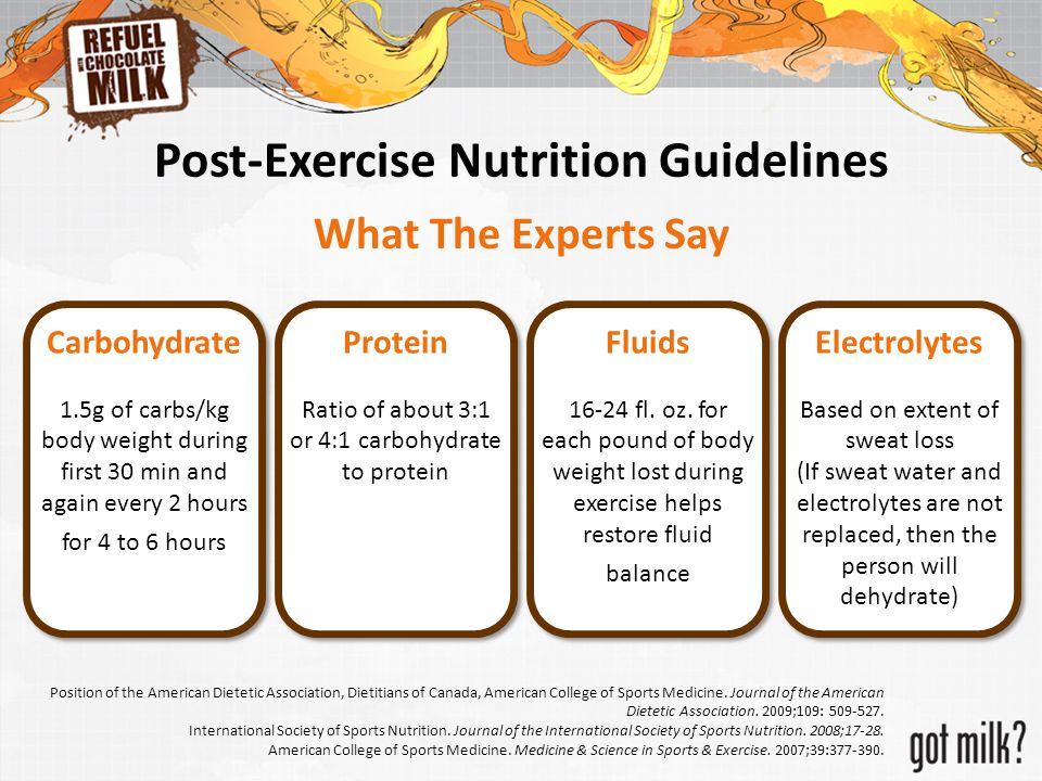 Post-Exercise Nutrition Guidelines What The Experts Say Carbohydrate 1.5g of carbs/kg body weight during first 30 min and again every 2 hours for 4 to