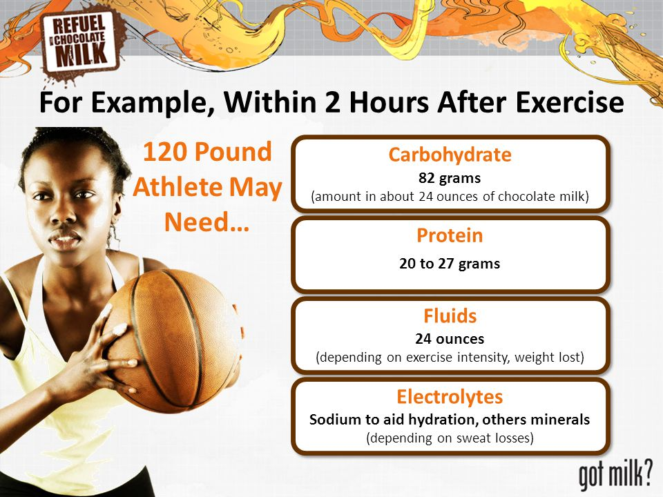 Carbohydrate 82 grams (amount in about 24 ounces of chocolate milk) Carbohydrate 82 grams (amount in about 24 ounces of chocolate milk) Fluids 24 ounc