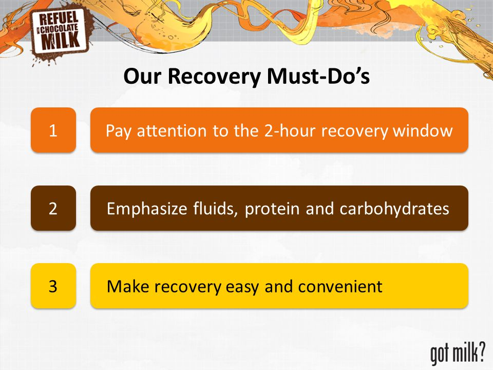 Our Recovery Must-Do's Pay attention to the 2-hour recovery window 1 1 Emphasize fluids, protein and carbohydrates 2 2 Make recovery easy and convenie