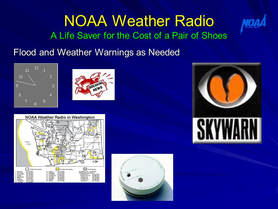 NOAA Weather Radio A Life Saver for the Cost of a Pair of Shoes Flood and Weather Warnings as Needed