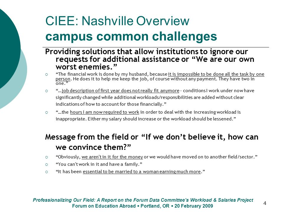 4 CIEE: Nashville Overview campus common challenges Providing solutions that allow institutions to ignore our requests for additional assistance or We are our own worst enemies.  The financial work is done by my husband, because it is impossible to be done all the task by one person.