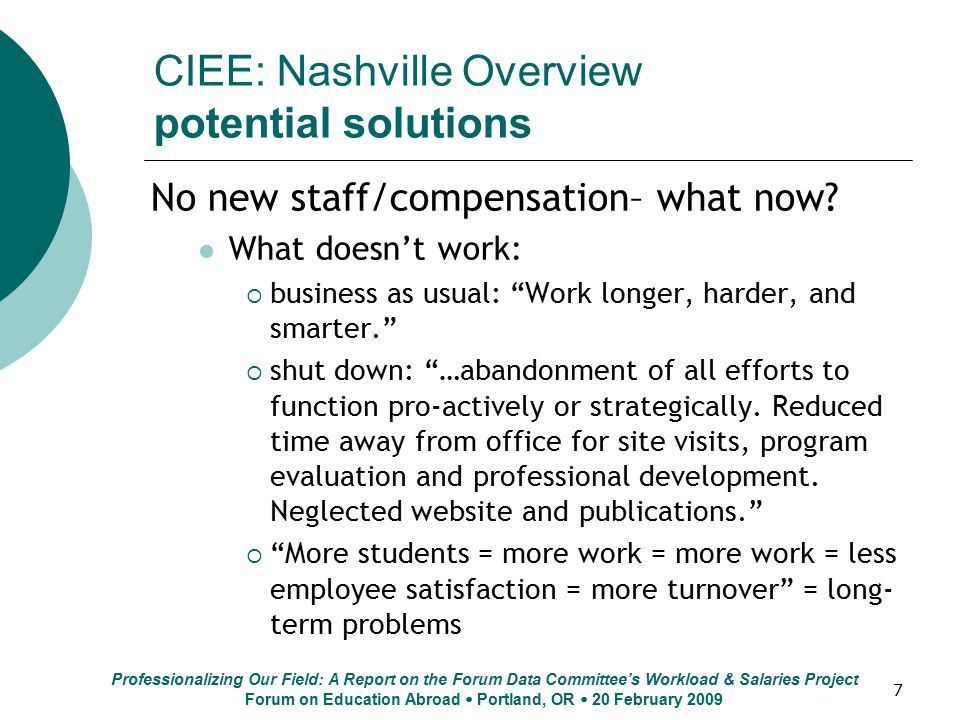 "7 CIEE: Nashville Overview potential solutions No new staff/compensation– what now? What doesn't work:  business as usual: ""Work longer, harder, and"
