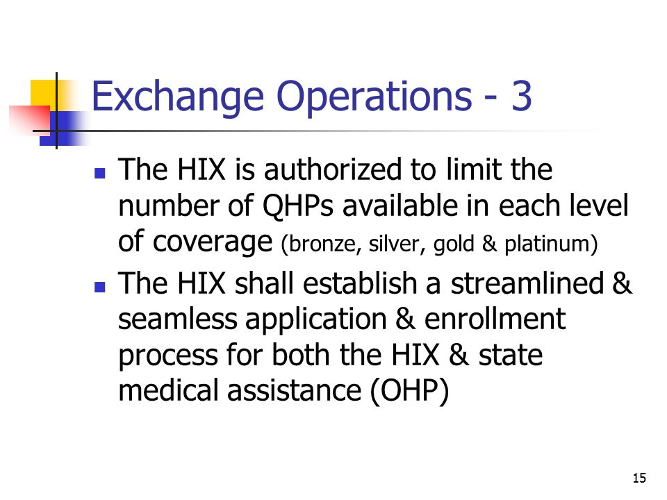 15 Exchange Operations - 3 The HIX is authorized to limit the number of QHPs available in each level of coverage (bronze, silver, gold & platinum) The HIX shall establish a streamlined & seamless application & enrollment process for both the HIX & state medical assistance (OHP)