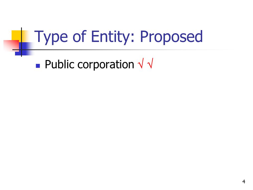 4 Type of Entity: Proposed Public corporation  