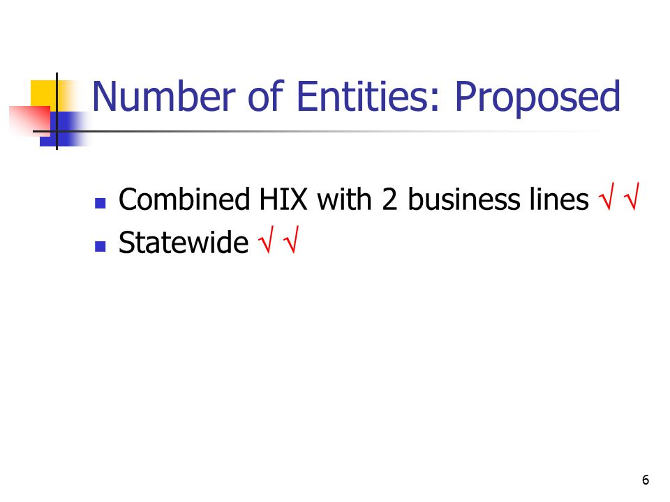 6 Number of Entities: Proposed Combined HIX with 2 business lines   Statewide  