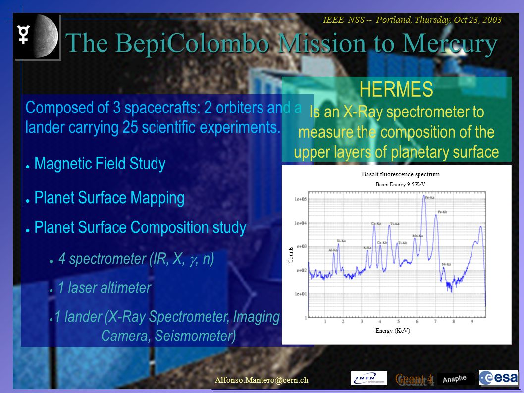 IEEE NSS -- Portland, Thursday, Oct 23, 2003 Alfonso.Mantero@cern.ch Conclusions Full atomic deexcitation validation Predictive capability of deexcitation processes Use of Geant4 applications for Physic Reach studies and experimental set-up optimization Physic validation Geological material Detector Geometry