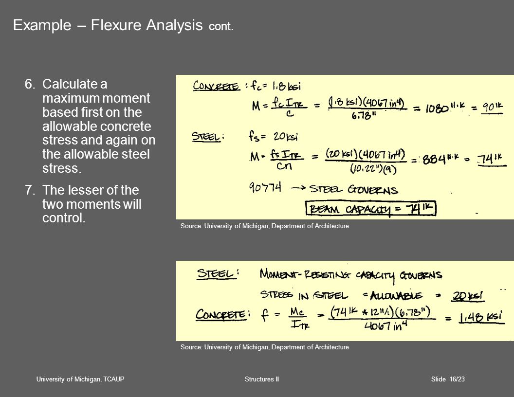 University of Michigan, TCAUP Structures II Slide 16/23 6.Calculate a maximum moment based first on the allowable concrete stress and again on the allowable steel stress.