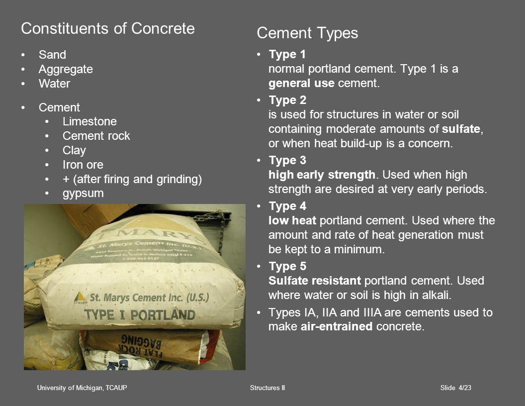 University of Michigan, TCAUP Structures II Slide 4/23 Cement Types Type 1 normal portland cement.