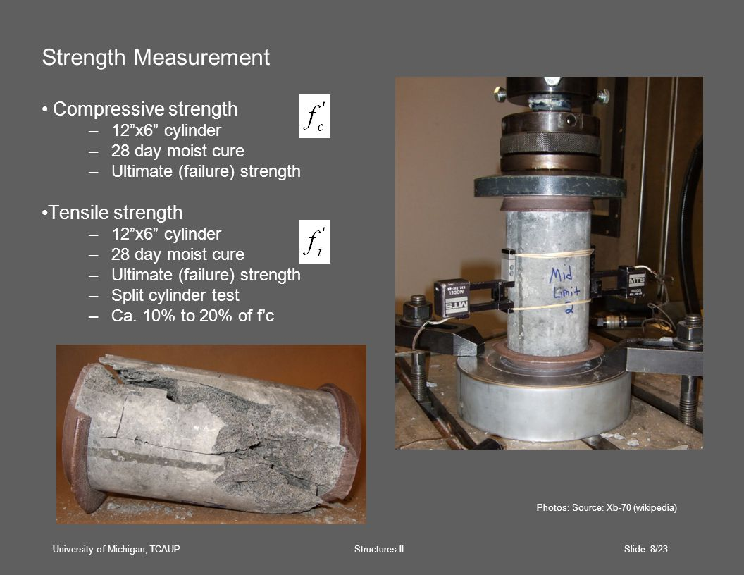 University of Michigan, TCAUP Structures II Slide 8/23 Strength Measurement Compressive strength –12 x6 cylinder –28 day moist cure –Ultimate (failure) strength Tensile strength –12 x6 cylinder –28 day moist cure –Ultimate (failure) strength –Split cylinder test –Ca.